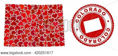 Mosaic Colorado State Map Designed With Red Love Hearts, And Unclean Seal Stamp. Vector Lovely Round
