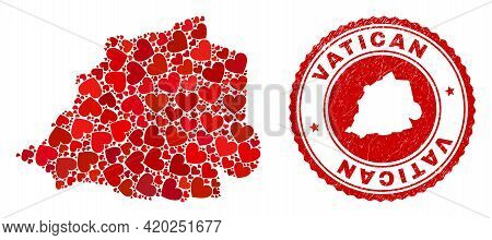Collage Vatican Map Created With Red Love Hearts, And Rubber Seal Stamp. Vector Lovely Round Red Rub
