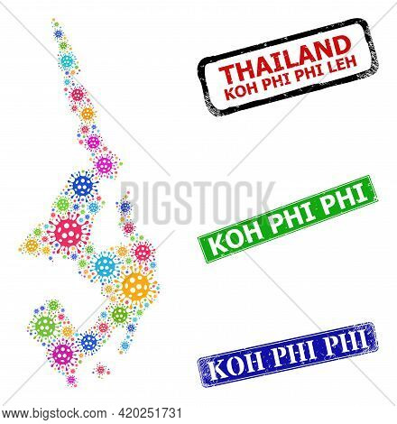Vector Covid-2019 Collage Koh Phi Leh Map, And Grunge Koh Phi Stamps. Vector Multi-colored Koh Phi L