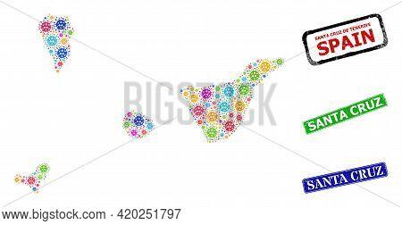 Vector Coronavirus Collage Santa Cruz De Tenerife Province Map, And Grunge Santa Cruz Seals. Vector