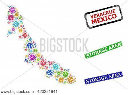 Vector Covid-2019 Mosaic Veracruz State Map, And Grunge Storage Area Stamps. Vector Colored Veracruz