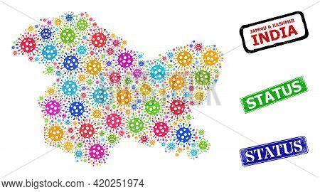 Vector Virus Mosaic Jammu And Kashmir State Map, And Grunge Status Seals. Vector Multi-colored Jammu