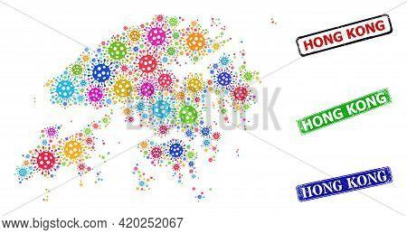 Vector Viral Collage Hong Kong Map, And Grunge Hong Kong Seals. Vector Vibrant Hong Kong Map Collage