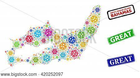 Vector Coronavirus Mosaic Great Inagua Island Map, And Grunge Great Seals. Vector Multi-colored Grea