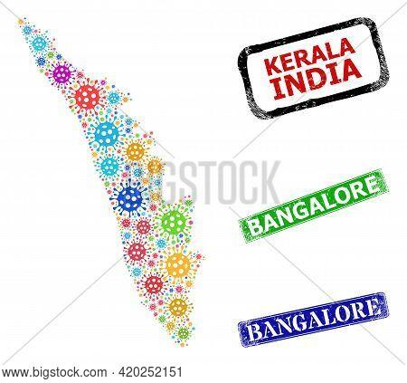 Vector Covid Mosaic Kerala State Map, And Grunge Bangalore Seals. Vector Multi-colored Kerala State
