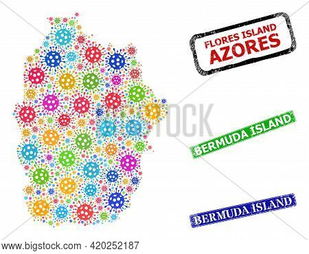 Vector Contagious Mosaic Flores Island Of Azores Map, And Grunge Bermuda Island Stamps. Vector Multi