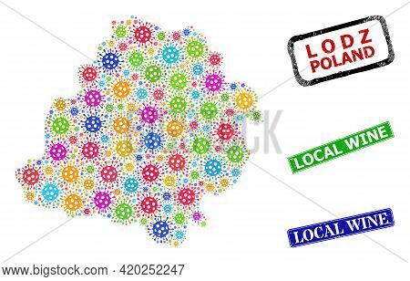 Vector Cell Mosaic Lodz Voivodeship Map, And Grunge Local Wine Seals. Vector Multi-colored Lodz Voiv