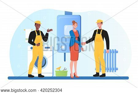 Plumber Service, Heating Company Technicians, Construction Specialists Team Using Tools, Installing,