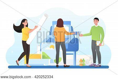 Plotter Inkjet Offset Machine Commercial Digital Advertising Documents Production. Printing House Po