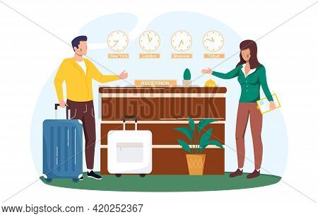 Hotel Reception Desk, Interior With Furniture, Receptionists And Traveller With Luggage. Customer At