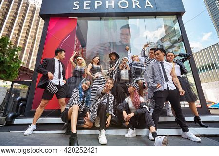 KUALA LUMPUR, MALAYSIA - JANUARY 18, 2020: models posing for photographer on Sephora grand opening day at Fahrenheit 88 shopping mall in Kuala Lumpur.
