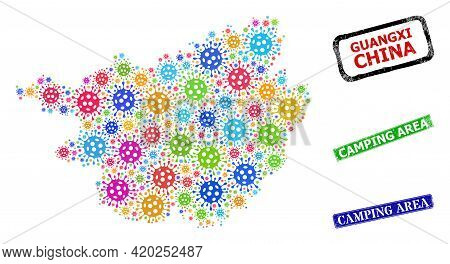 Vector Coronavirus Mosaic Guangxi Province Map, And Grunge Camping Area Seal Stamps. Vector Colorful