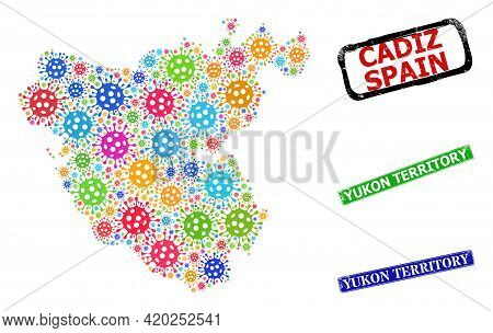 Vector Virus Mosaic Cadiz Province Map, And Grunge Yukon Territory Seal Stamps. Vector Multi-colored