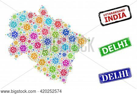 Vector Contagious Collage Uttarakhand State Map, And Grunge Delhi Badges. Vector Multi-colored Uttar