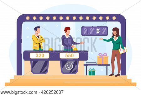 Tv Game Show With Two Participants Answering Questions Or Solving Puzzles And Host. Flat Cartoon Vec