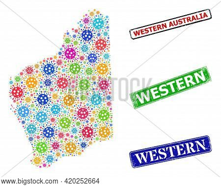 Vector Covid-2019 Mosaic Western Australia Map, And Grunge Western Badges. Vector Colored Western Au