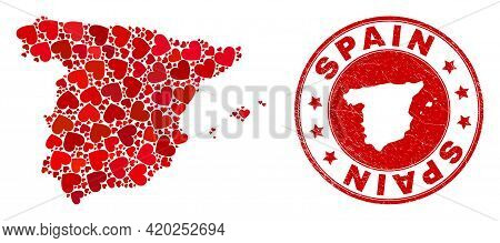 Collage Spain Map Composed With Red Love Hearts, And Unclean Seal Stamp. Vector Lovely Round Red Rub