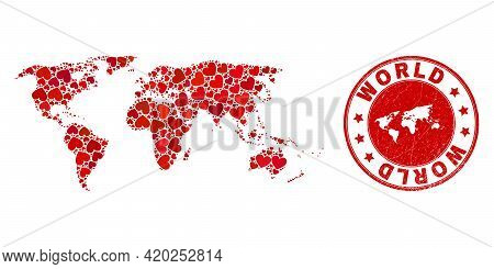 Collage World Map Designed With Red Love Hearts, And Rubber Badge. Vector Lovely Round Red Rubber Ba