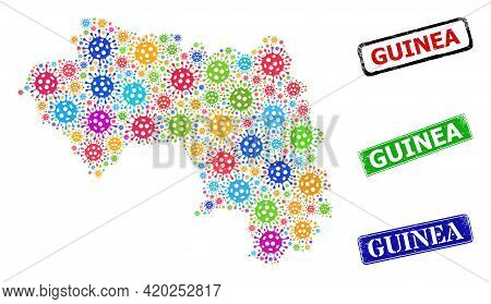 Vector Cell Mosaic Republic Of Guinea Map, And Grunge Guinea Seal Stamps. Vector Multi-colored Repub