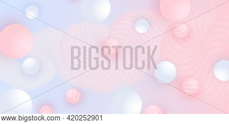 Abstract Design. Fluid Pattern. Pink, White Balls. Vector.