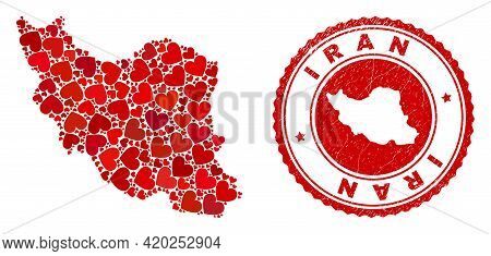 Collage Iran Map Designed With Red Love Hearts, And Scratched Seal Stamp. Vector Lovely Round Red Ru
