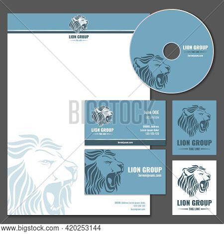 Business Card Vector Template With Lion Logo. Business Branding, Company Brand Lion, Wild Lion Lette