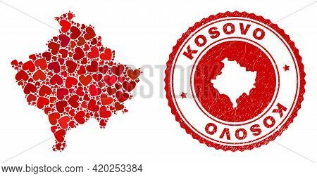 Mosaic Kosovo Map Designed From Red Love Hearts, And Unclean Stamp. Vector Lovely Round Red Rubber S