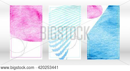 Watercolor Abstract Shapes. Minimalist Artistic Hand Painted Compositions. Pink, Blue Colors. Vector