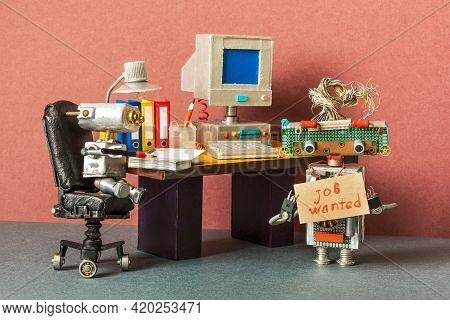 Unemployed Robot Manager Retro Style Office Workplace Background. Vintage Computer Table, Leather Bo