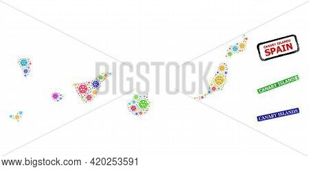 Vector Bacilla Mosaic Canary Islands Map, And Grunge Canary Islands Seals. Vector Colorful Canary Is