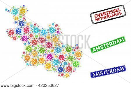 Vector Cell Collage Overijssel Province Map, And Grunge Amsterdam Seals. Vector Multi-colored Overij