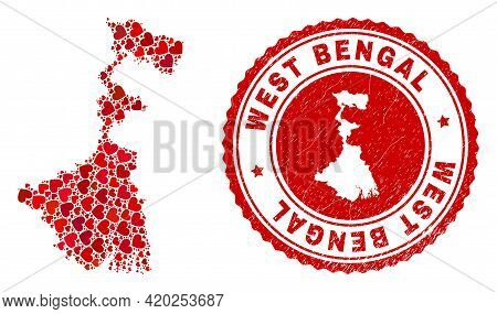 Mosaic West Bengal State Map Composed With Red Love Hearts, And Rubber Seal. Vector Lovely Round Red