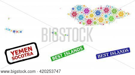 Vector Virus Mosaic Socotra Archipelago Map, And Grunge Best Islands Stamps. Vector Multi-colored So