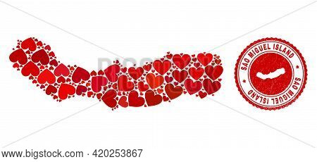 Collage Sao Miguel Island Map Formed With Red Love Hearts, And Rubber Seal. Vector Lovely Round Red