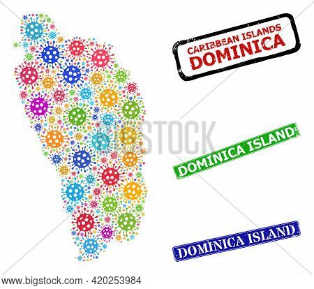 Vector Contagious Mosaic Dominica Island Map, And Grunge Dominica Island Stamps. Vector Vibrant Domi