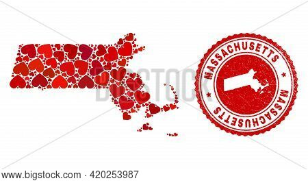 Mosaic Massachusetts State Map Composed With Red Love Hearts, And Dirty Seal Stamp. Vector Lovely Ro