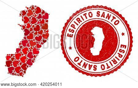 Mosaic Espirito Santo State Map Composed With Red Love Hearts, And Dirty Seal Stamp. Vector Lovely R