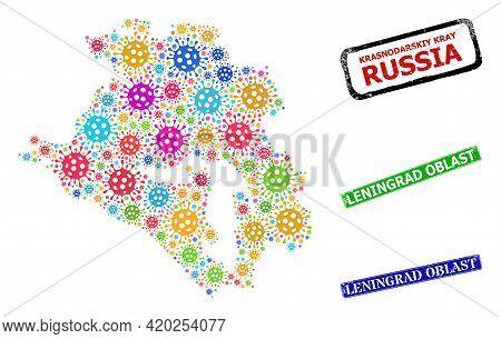 Vector Viral Collage Krasnodarskiy Kray Map, And Grunge Leningrad Oblast Seal Stamps. Vector Multi-c