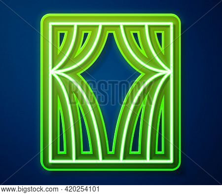 Glowing Neon Line Circus Curtain Raises Icon Isolated On Blue Background. For Theater Or Opera Scene
