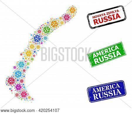 Vector Covid Mosaic Novaya Zemlya Islands Map, And Grunge America Russia Badges. Vector Colored Nova
