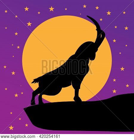 Vector Illustration Of Goat. Silhouette Black Goat With Moonligh