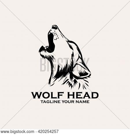 Wolf Head Icon Logo Vector. Wolf Animal Vector