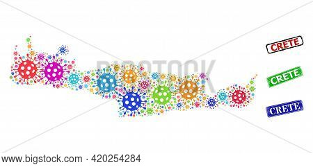 Vector Infection Collage Crete Map, And Grunge Crete Seal Stamps. Vector Colored Crete Map Collage,