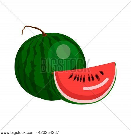Watermelon, A Whole Green Watermelon With A Tail, Half A Watermelon With Bones. Vector Isolated On W