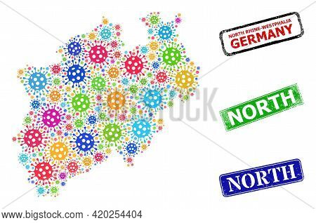 Vector Covid Collage North Rhine-westphalia Land Map, And Grunge North Seal Stamps. Vector Colored N