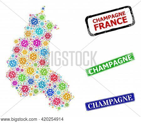 Vector Covid Collage Champagne Province Map, And Grunge Champagne Seals. Vector Multi-colored Champa