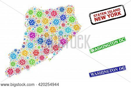 Vector Cell Mosaic Staten Island Map, And Grunge Washington Dc Stamps. Vector Multi-colored Staten I