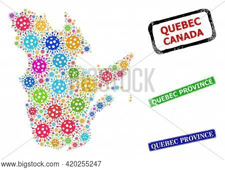 Vector Covid-2019 Collage Quebec Province Map, And Grunge Quebec Province Seal Stamps. Vector Multi-
