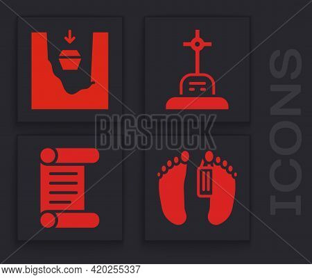 Set Dead Body, Coffin In Grave, Grave With Cross And Decree, Parchment, Scroll Icon. Vector