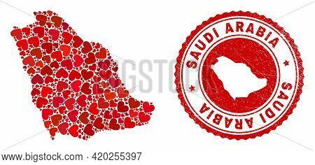 Collage Saudi Arabia Map Composed With Red Love Hearts, And Rubber Seal Stamp. Vector Lovely Round R